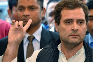 New Delhi: Congress president Rahul Gandhi speaks to media at parliament during the Budget Session, in New Delhi on Wednesday. PTI Photo by Kamal Kishore (PTI2_7_2018_000084B)