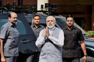 New Delhi: Prime Minister Narendra Modi arrives to attend the second phase of the budget session of Parliament, in New Delhi on Monday. PTI Photo by Kamal Singh (PTI3_5_2018_000060B)