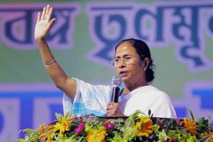 Howrah: West Bengal Chief Minister and Trinamool Congress supremo Mamata Banerjee addresses during Youth Trinamool Congress rally at Damurjala Stadium in Howrah district of West Bengal on Friday. PTI Photo(PTI2_2_2018_000146B)