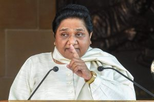 Lucknow: BSP supremo Mayawati addresses a press conference at her residence in Lucknow on Saturday. PTI Photo by Nand Kumar  (PTI3_24_2018_000088B)