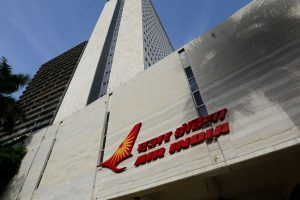 The Air India logo is seen on the facade of its office building in Mumbai, India, July 7, 2017. Credit: Reuters/Danish Siddiqui
