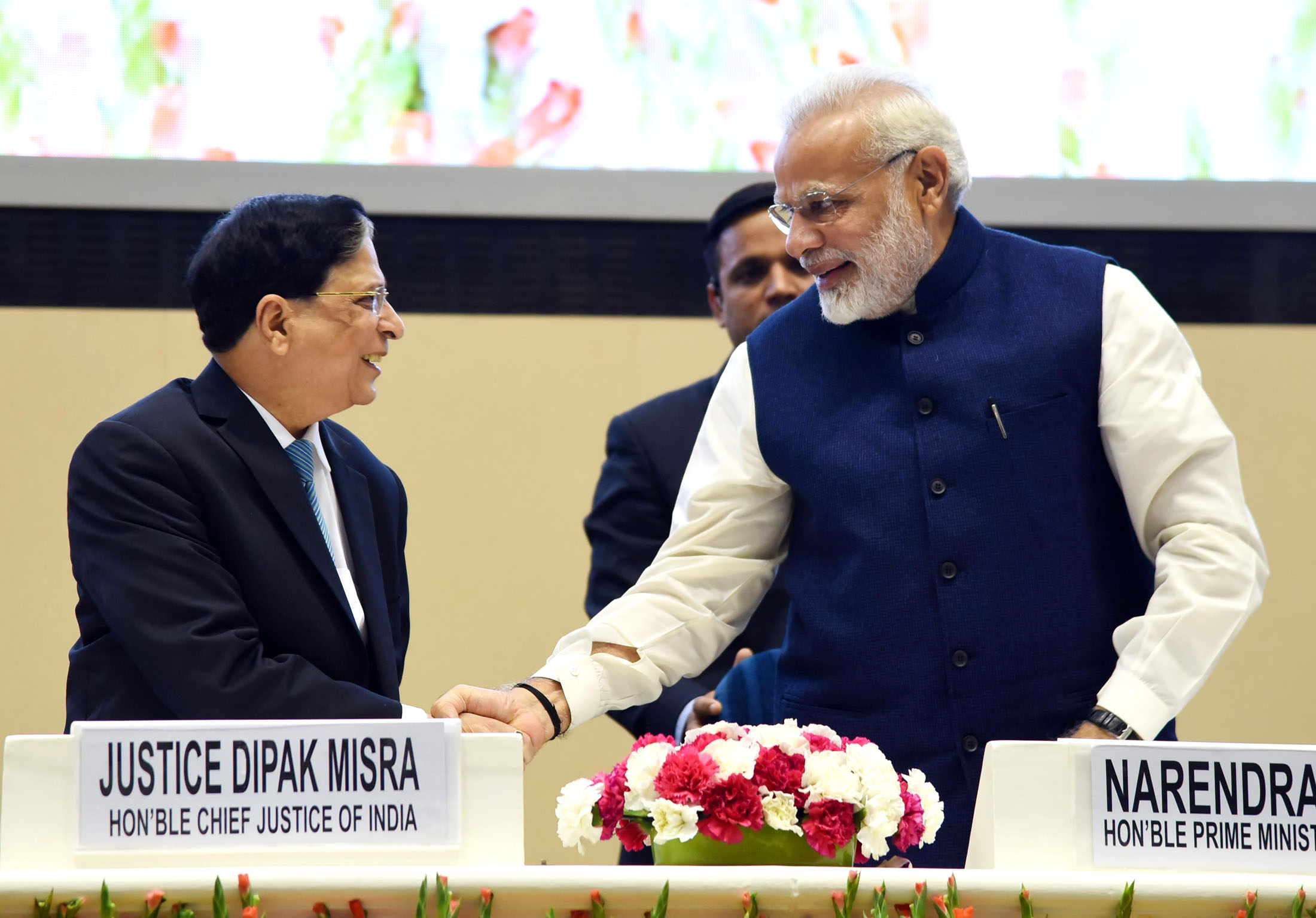 The Prime Minister, Shri Narendra Modi with the Chief Justice of India, Justice Shri Dipak Misra at the valedictory function of the National Law Day celebrations, in New Delhi on November 26, 2017.