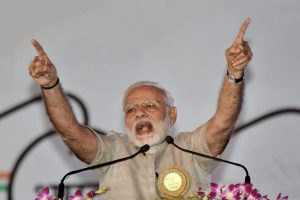 Motihari: Prime Minister Narendra Modi speaks during 'Satyagrah Se Swachhagrah' programme on the concluding ceremony of Centenary of Champaran Satyagraha celebration at Gandhi Maidan in Motihari, Bihar on Tuesday. PTI Photo(PTI4_10_2018_000087B)