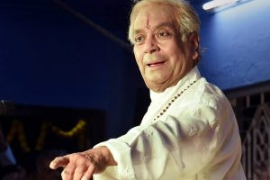 Varanasi: Padma Vibhushan and Kathak maestro Pandit Birju Maharaj performs Kathak dance on the second day of Sankat Mochan Music Festival, in Varanasi on late Thursday. PTI Photo(PTI4_6_2018_000027B)