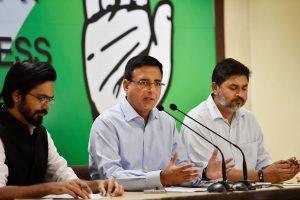 New Delhi: AICC spokesperson Randeep Singh Surjewala addresses a press conference in New Delhi on Thursday. PTI Photo by Ravi Choudhary (PTI4_19_2018_000111B)