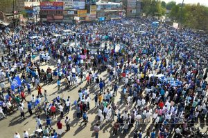 Jodhpur: Members of Dalit community and Bhim Sena stage a protest during 'Bharat Bandh' against the alleged 'dilution' of the Scheduled Castes and the Scheduled Tribes Act by Supreme court, in Jodhpur on Monday. PTI Photo(PTI4_2_2018_000047B)
