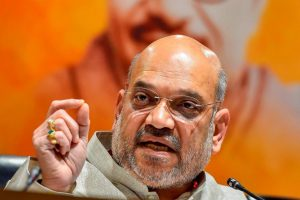 New Delhi: Bharatiya Janata Party President Amit Shah addresses a press conference, in New Delhi, on Monday. (PTI Photo/Kamal Singh) (PTI5_21_2018_000094B)