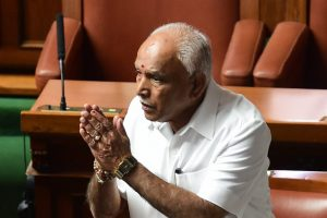Bengaluru: Karnataka Chief Minister B S Yediyurappa arrives at the oath-taking ceremony of the newly elected members of the house at Vidhana Soudha, in Bengaluru, on Saturday. Supreme Court has ordered Karnataka BJP Government to prove their majority in a floor test at the Assembly .(PTI Photo/Shailendra Bhojak) (PTI5_19_2018_000071B)