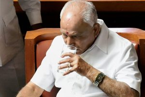 Bengaluru: Karnataka Chief Minister B S Yediyurappa at oath-taking ceremony of newly elected members of Assembly house, at Vidhana Soudha, in Bengaluru, on Saturday. Supreme Court has ordered Karnataka BJP Government to prove their majority in a floor test at the Assembly .(PTI Photo/Shailendra Bhojak) (PTI5_19_2018_000082B)