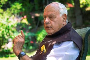 Srinagar: Jammu and Kashmir National Conference President Farooq Abdullah during an interview with PTI, in Srinagar, on Monday. (PTI Photo/S Irfan) (Story No DEL34) (PTI5_21_2018_000111B)