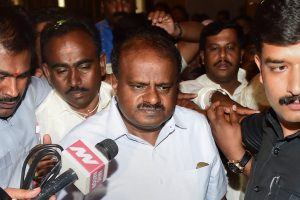 Bengaluru: JD(S) President H D Kumaraswamy speaks to media after the JD(S) legislative party meeting in Bengaluru on Wednesday. Congress has extended the support to JD(S) to form the new Government in Karnataka. (PTI Photo/Shailendra Bhojak) (PTI5_16_2018_000109B)