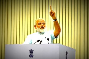 The Prime Minister, Shri Narendra Modi addressing at the 11th Civil Services Day function, in New Delhi on April 21, 2017.