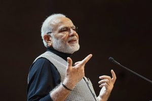 Stockholm: Prime Minister Narendra Modi addresses the Indian Community in Stockholm, Sweden on Tuesday. PTI Photo / PIB(PTI4_18_2018_000045B)