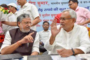 Patna: Bihar Chief Minister Nitish Kumar along with Deputy CM Sushil Kumar Modi, after inaugurating various development schemes of the health department of Bihar state, in Patna, on Monday, 28 May 2018. (PTI Photo)(PTI5_28_2018_000048B)