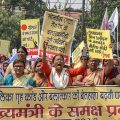 Patna: All India Progressive Women's Association (AIPWA) activists raise slogans during a protest march against the atrocities faced by women, in Patna on Friday, June 22, 2018. (PTI Photo)(PTI6_22_2018_000157B)