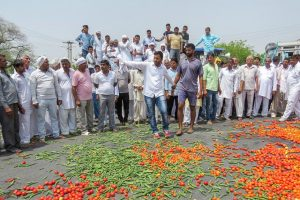 Hisar: Vegetables lie scattered on a road as farmer's protest enters third day, in Hisar, on Sunday, June 03, 2018. (PTI Photo) (PTI6_3_2018_000058B)