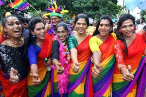 Chennai: Lesbian, Gays, Bi-Sexual and Transgenders (LGBT) people along with their supporters take part in Chennai Rainbow Pride walk to mark the 10th year celebrations, in Chennai on Sunday, June 24, 2018. (PTI Photo)(PTI6_24_2018_000130B)