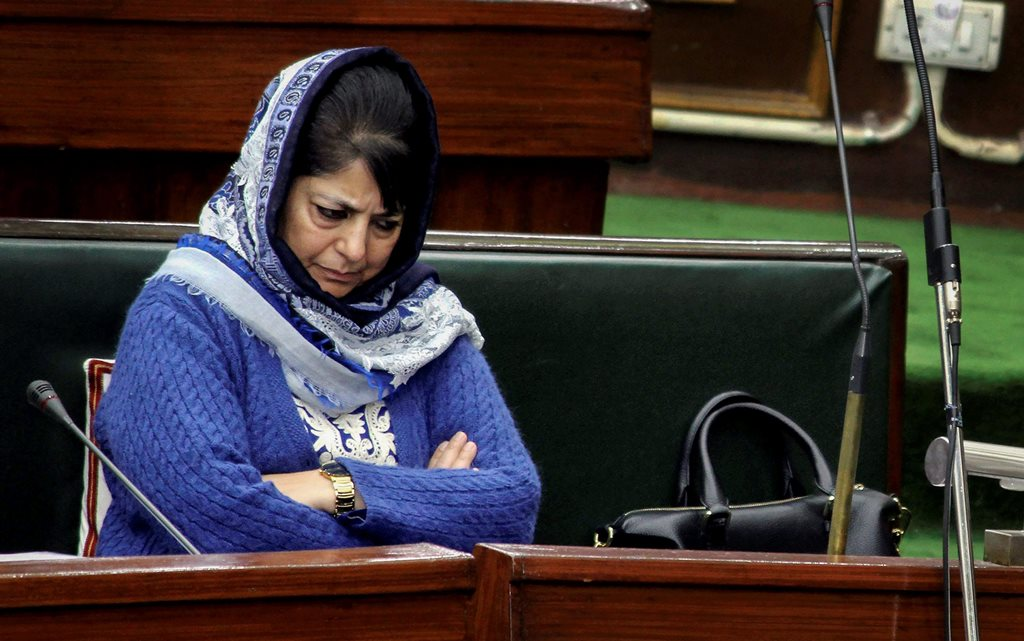 **FILE PHOTO** Jammu: In this file photo dated January 27, 2017, Jammu and Kashmir Chief Minister Mehbooba Mufti during the Budget Session of the J-K Legislative Assembly in Jammu. BJP on Tuesday, June 19, 2018, decided to pull out of the alliance government with Mehbooba Mufti-led People's Democratic Party in Jammu & Kashmir. (PTI Photo) (PTI6_19_2018_000077B)