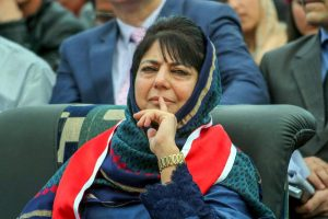 **FILE PHOTO** Jammu: In this file photo dated March 4, 2017, Jammu and Kashmir Chief Minister Mehbooba Mufti looks on during the Red Cross Mela at Gulshan Ground in Jammu. BJP on Tuesday, June 19, 2018, has pulled out of the alliance government with Mehbooba Mufti-led People's Democratic Party in Jammu & Kashmir. (PTI Photo) (PTI6_19_2018_000085B)