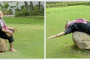 New Delhi: **COMBO** A combo picture of the still images taken from a video shows Prime Minister Narendra Modi doing yoga exercises. The world is set to observe the 4th International Day of Yoga on June 21, 2018. (Twitter/@narendramodi via PTI Photo) (PTI6_13_2018_000054B)