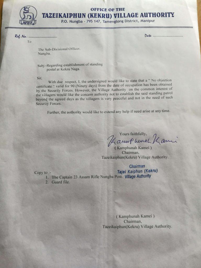 NoC Letter Human Shield Manipur