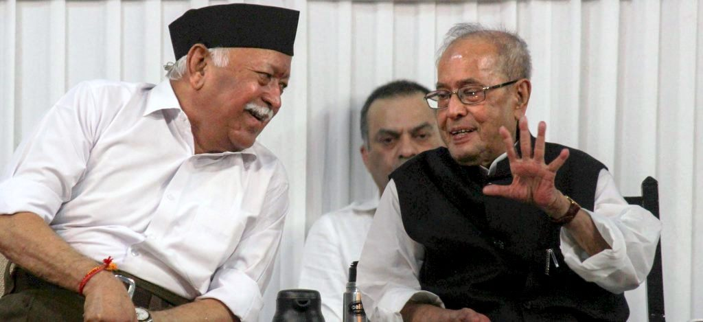 Former president Pranab Mukherjee with RSS chief Mohan Bhagwat at an RSS event on June 7, 2018. Credit: PTI