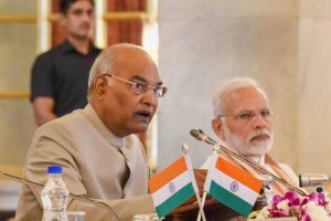 New Delhi: President Ram Nath Kovind speaks as Prime Minister Narendra Modi looks on, during the second day of the Conference of Governors at Rashtrapati Bhavan, in New Delhi on Tuesday, June 05, 2018. (PTI Photo/RB) (PTI6_5_2018_000087B)