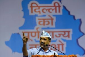 **EDS PLEASE NOTE: BEST OF THE WEEK, SET OF 13 PICTURES** New Delhi: Delhi Chief Minister Arvind Kejriwal addresses AAP workers at the party's Pradesh Mahasammelan on the issue of full statehood to Delhi, in New Delhi on Sunday, July 1, 2018. (PTI Photo/Manvender Vashist) (PTI7_1_2018_000158B)(PTI7_8_2018_000125B)