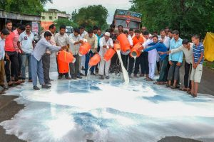 Ahmednagar: Swabhimani Shetkari Sanghatna activists during a demonstration demanding a subsidy of Rs 5 per litre milk, waiver of goods and services tax on butter and milk powder among others, at Shiradhon Village in Ahmednagar on Monday, July 16, 2018. (PTI Photo) (PTI7_16_2018_000176B)