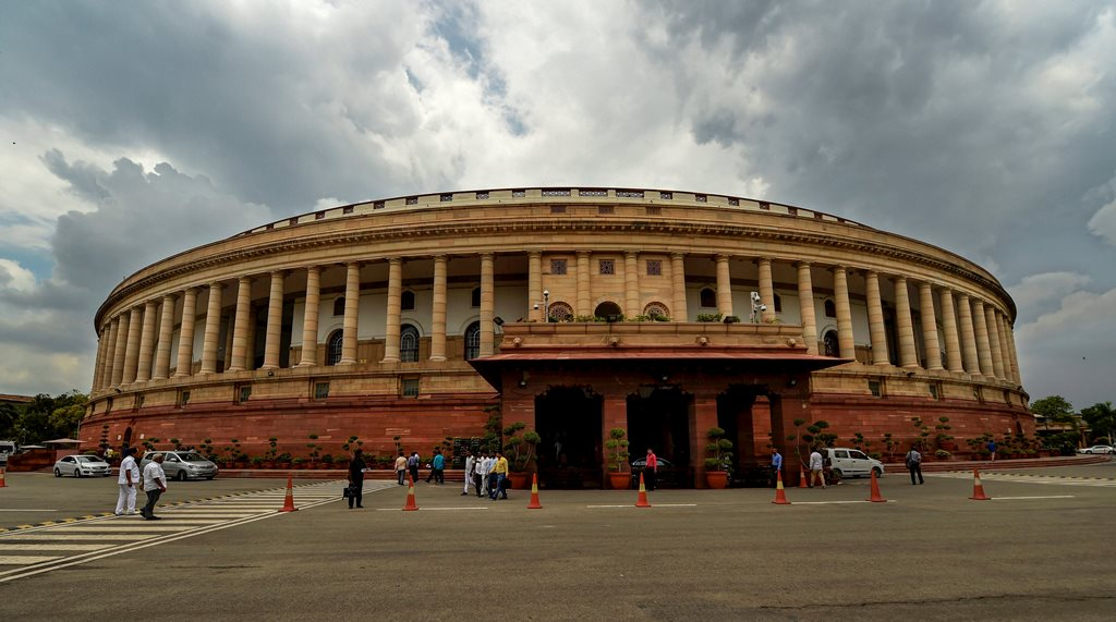 New Delhi: Monsoon clouds hover over the Parliament House, in New Delhi on Monday, July 23, 2018.(PTI Photo/Atul Yadav) (PTI7_23_2018_000111B)