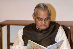 **FILE** New Delhi: In this file photo former prime minister Atal Bihari Vajpayee is seen at his residence in New Delhi. Vajpayee, 93, passed away on Thursday, Aug 16, 2018, at the All India Institute of Medical Sciences, New Delhi after a prolonged illness. (PTI Photo) (PTI8_16_2018_000172B)