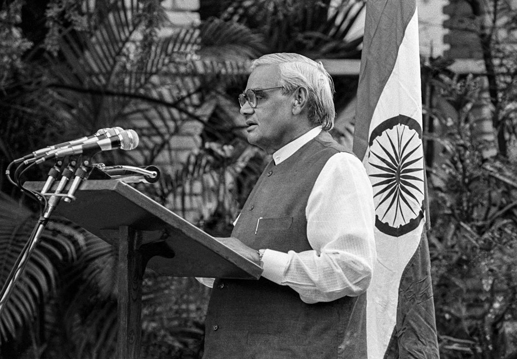**FILE** New Delhi: In this May 11, 1998, file photo former prime minister Atal Bihari Vajpayee announces India's nuclear test, in New Delhi. Vajpayee, 93, passed away on Thursday, Aug 16, 2018, at the All India Institute of Medical Sciences, New Delhi after a prolonged illness. (PTI Photo) (PTI8_16_2018_000178B)