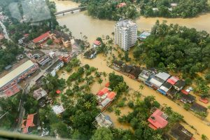 Chengannur: Flood affected areas of Chengannur seen from a Indian Navy helicopter, at Alappuzha district of the Kerala, on Sunday August 19, 2018. (PTI Photo) (PTI8_20_2018_000097B)