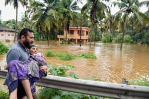 Kochi: People being rescued from a flood-affected region following heavy monsoon rainfall, in Kochi on Thursday, Aug 16, 2018. (PTI Photo) (PTI8_16_2018_000195B)