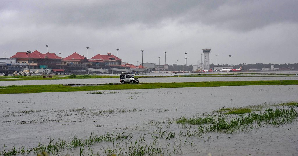 Kochi: Submerged area near Cochin International Airport after monsoon rainfall, in Kochi on Wednesday, Aug 15, 2018. The Cochin International Airport at Nedumbassery reportedly suspended operations till Saturday due to rains and floods. (PTI Photo) (PTI8_15_2018_000304B)