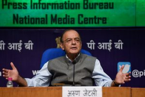 New Delhi: Finance Minister Arun Jaitley speaks during a press conference, in New Delhi, Monday,17 Sep2018. (PTI Photo/Kamal Singh)(PTI9_17_2018_000178B)