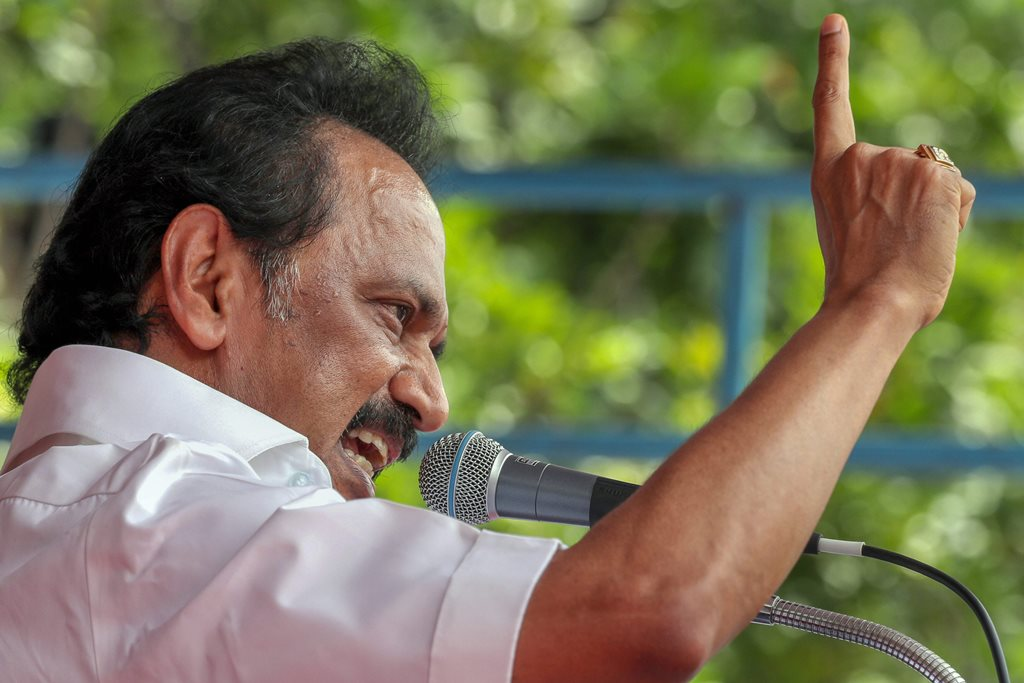 Salem: DMK leader MK Stalin addresses party members during a protest as they demand the resignation of two ministers of ruling AIADMK party, in Salem, Tuesday, Sept 18, 2018. (PTI Photo) (PTI9_18_2018_000097B)