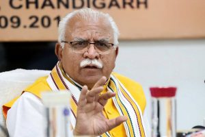 Chandigarh: Haryana Chief Minister Manohar Lal Khattar addresses a press conference, in Chandigarh, Thursday, Sept 13, 2018. (PTI Photo)(PTI9_13_2018_000093B)
