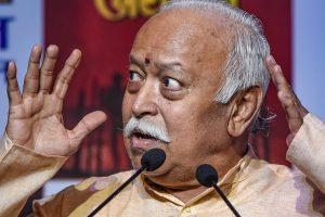 New Delhi: RSS chief Mohan Bhagwat speaks during a book release function in New Delhi, Thursday, Sep 20, 2018. (PTI Photo/Subhav Shukla) (PTI9_20_2018_000153B)