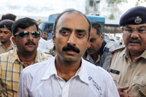 **FILE** New Delhi: In this file photo dated October 01, 2011, shows suspended IPS officer Sanjiv Bhatt being produced in the court, in Ahmadabad. According to the officials, Bhatt was arrested on Wednesday, Sept 05, 2018, by the Gujarat CID in connection with a 22-year-old case of alleged planting of drugs to arrest a man. (PTI Photo) (PTI9_5_2018_000267B)