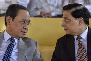 New Delhi: Chief Justice of India Justice Dipak Misra (R) and Justice Ranjan Gogoi at the farewell ceremony of Justice Adarsh Kumar Goel, in New Delhi on Friday, July 6, 2018. (PTI Photo/Ravi Choudhary)  (PTI7_6_2018_000148B)