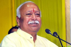 Nagpur: RSS Chief Mohan Bhagwat addresses after a book release during an event organised by Shree Narkesari Prakashan, in Nagpur, Monday, Oct 15, 2018. (PTI Photo) (PTI10_15_2018_000166B)