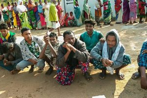 ** BEST QUALITY AVAILABLE** voters wait in queues to cast their votes during the first phase of Assembly elections in Chhattisgarh at a polling station in Dantewada on Monday, Nov 12,2018.( PTI Photo)(PTI11_12_2018_000003)