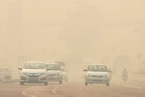 New Delhi: Commuters drive through heavy smog, a day after Diwali celebrations, in New Delhi, Thursday, Nov 08, 2018. According to the officials, Delhi recorded its worst air quality of the year the morning after Diwali as the pollution level entered 'severe-plus emergency' category due to the rampant bursting of toxic firecrackers. (PTI Photo/Ravi Choudhary)(PTI11_8_2018_000035B)