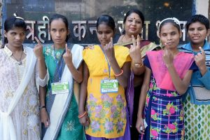 Jabalpur: Visually impaired women show their ink-marked fingers after casting votes for the Assembly elections, in Jabalpur, Madhya Pradesh, Wednesday, Nov 28, 2018. (PTI Photo) (PTI11_28_2018_000093)