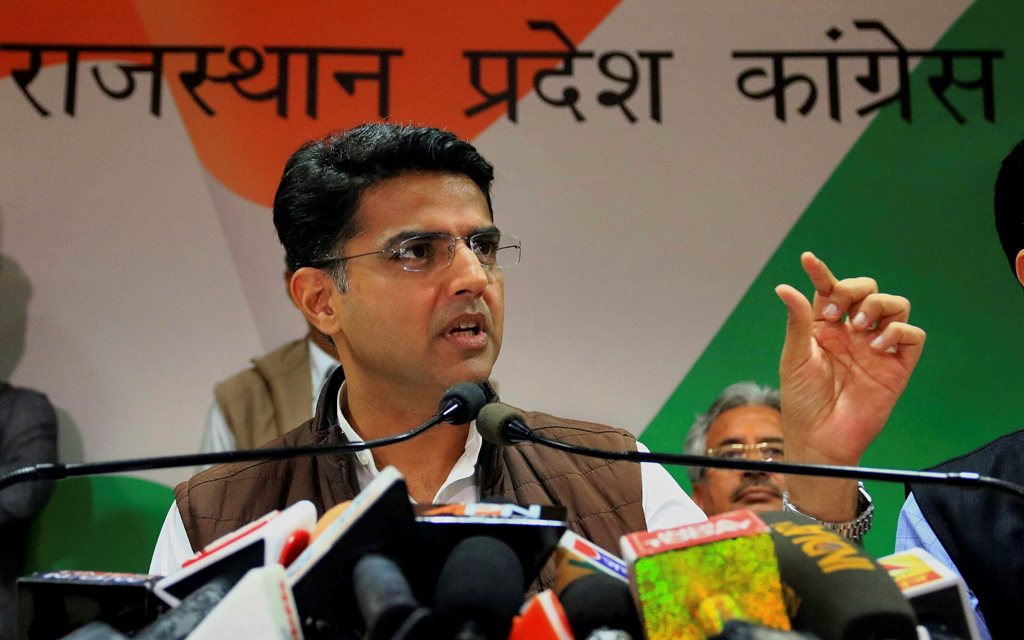 Jaipur: Rajasthan Congress chief Sachin Pilot releases a publication during a press conference at the party office in Jaipur, Thursday, Nov 22, 2018. (PTI Photo) (PTI11_22_2018_000154B)