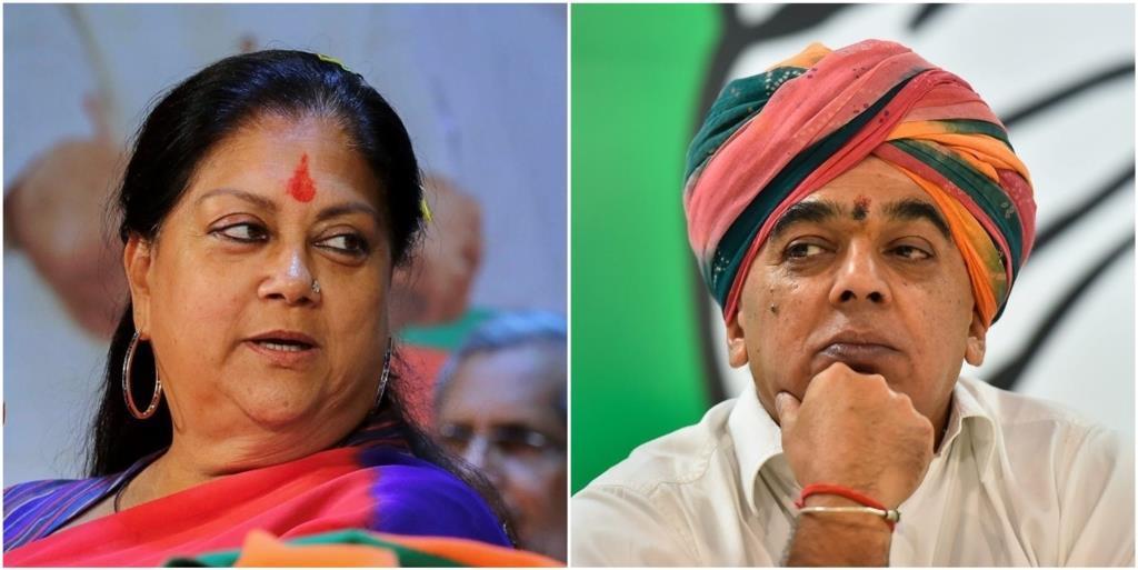 राजस्थान की मुख्यमंत्री वसुंधरा राजे को झालरापाटन सीट से कांग्रेस की ओर से भाजपा नेता जसवंत सिंह के बेटे मानवेंद्र सिंह विधानसभा चुनाव में चुनौती देंगे. (फोटो: पीटीआई)
