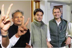 राजस्थान के होने वाले मुख्यमंत्री अशोक गहलोत और उप-मुख्यमंत्री सचिन पायलट. कांग्रेस अध्यक्ष राहुल गांधी के साथ मध्य प्रदेश के होने वाले मुख्यमंत्री कमलनाथ और कांग्रेस नेता ज्योतिरादित्य सिंधिया. (फोटो: पीटीआई)