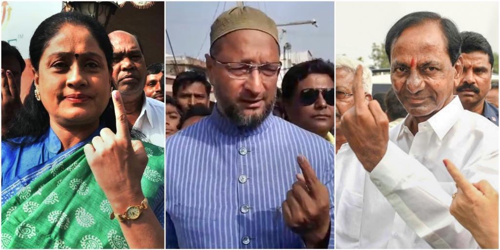 तेलंगाना विधानसभा के लिए शुक्रवार को कांग्रेस नेता विजयाशांति, एआईएमआईएम के नेता असदद्दीन ओवैसी और तेलंगाना के कार्यवाहक मुख्यमंत्री के. चंद्रशेखर राव ने वोट डाले. (फोटो: पीटीआई)