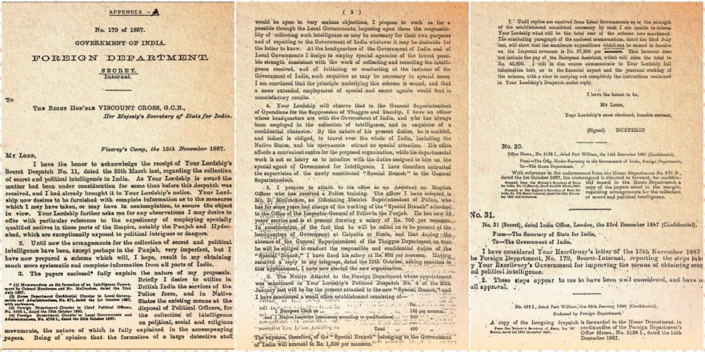 1887 note which launched the Intelligence Bureau